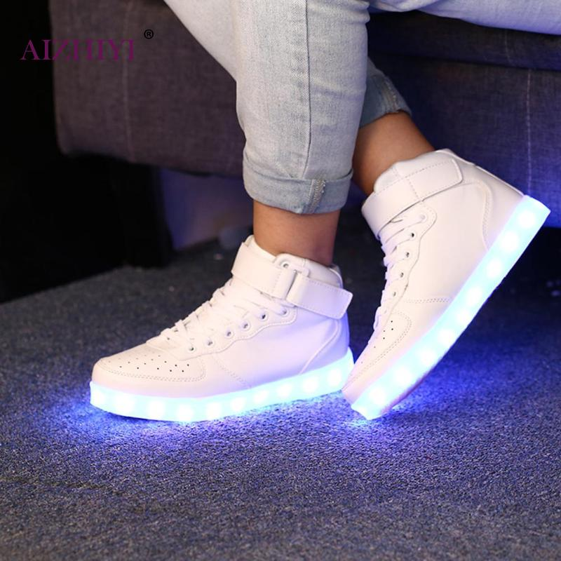 Light Casual Rougeoyant Led Sneakers Lumineux Up Noir Hommes Pu blanc Chaussures Mode Femmes qwH8EnIF