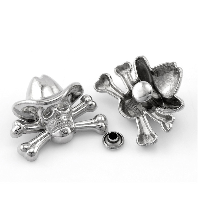 50Sets/lot DIY Pirate Skull Crossbone Punk Spike Studs Spots Rivets Fit Clothes Bag Shoes Crafts Silver Tone 3x2.5cm 7x3.5mm 100sets silver tone cone spike garment rivets studs spots fit clothes shoes bags accessories 10mm 3 8 8mm 3 8