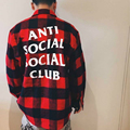 Анти Социальные Social Club Falnnel Рубашка Мужчины Письмо Верховный Box Логотип АГОС Хип-Хоп Дворец Скейтборды Camisa Harajuku Осень Рубашки