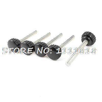 5 Pcs 8mm Male Thread Dia Screw On Type Grip Knurled Knobs Black 12 x black 5mm m5 male thread dia plastic screw on round knurled knob