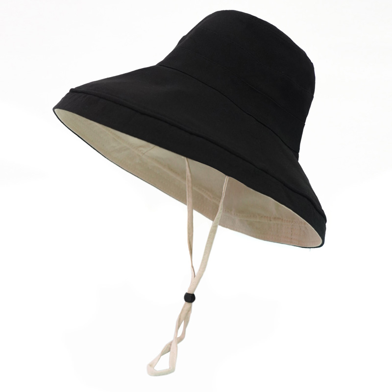 UNIFREE New Summer Hat Beach Women Solid Color Leisure Holiday Black Top Beach Hat U192W116VV