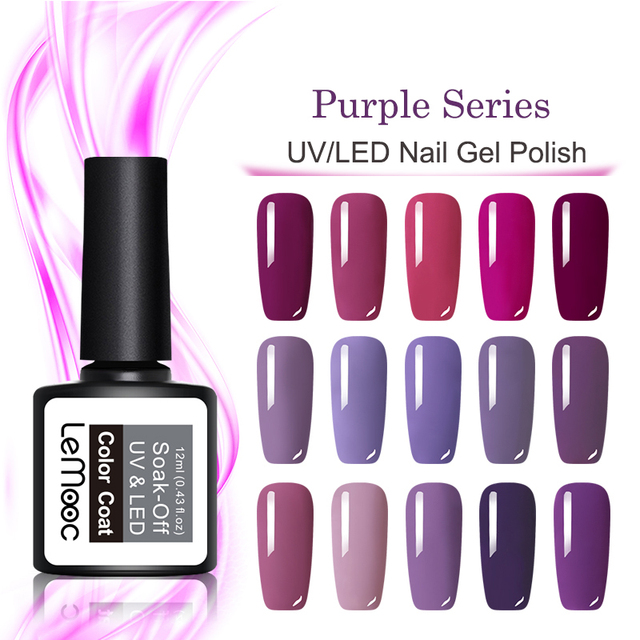 LEMOOC 8ml Purple Series Gel Nail Polish Soak Off UV/LED Nail Gel Semi Permanent Nail Art Gel Lacquer Vernis 24 Colors Available