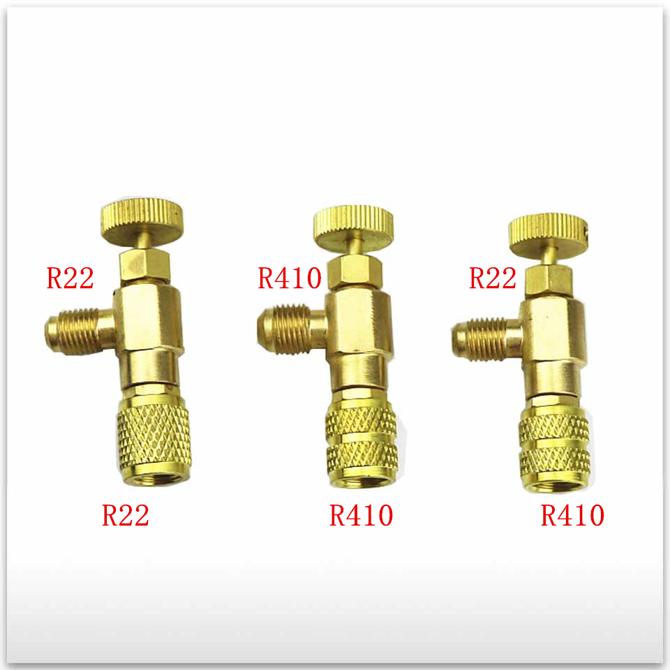 3pcs/set new High Quality for Air conditioning fluorine joi R410 R22 Refrigeration Air conditioning Valve Safety Adapter hs 1221 hs 1222 r410a refrigeration charging adapter refrigerant retention control valve air conditioning charging valve