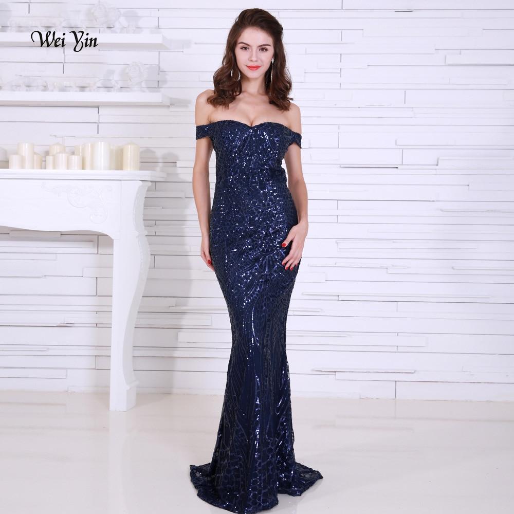 Weiyin bleu marine Sequin sirène robes de bal longue épaule dénudée or femmes Maxi robes de soirée Occasion spéciale robe WY1198