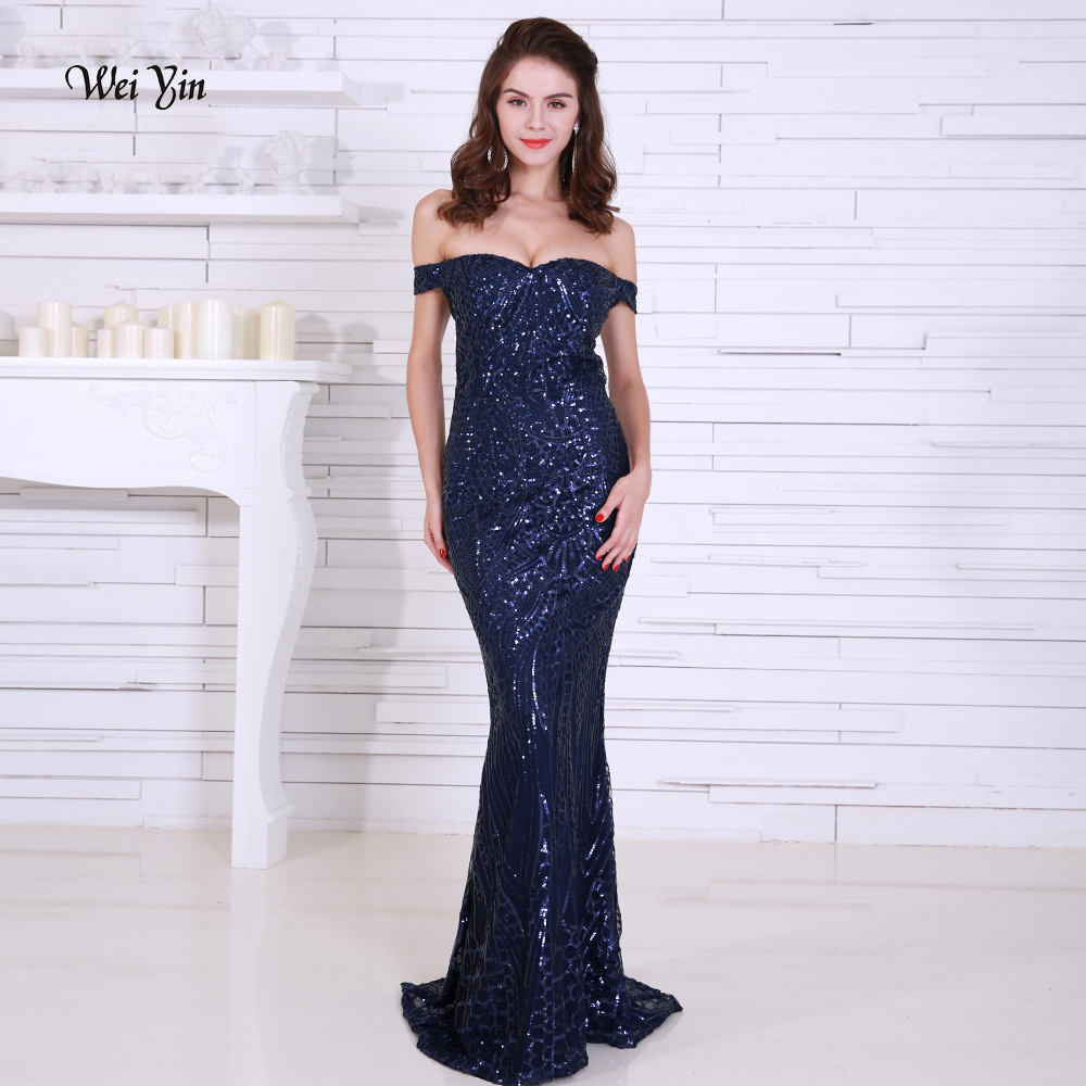weiyin Navy Blue Sequin Mermaid   Prom     Dresses   Long Off Shoulder Gold Women Maxi Evening Party Gowns Special Occasion   Dress   WY1198