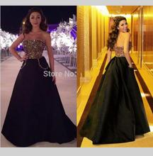 Myriam Fares Black A Line Long Evening Dress With Pocket Crystal Beading Sequin Strapless Backless Fashion Women Dress Gown
