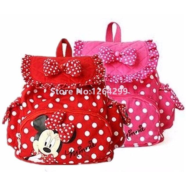 e03c60fe310d Nueva moda Minnie niñas pequeñas mochila de tela de algodón niños  Kindergarten bolsas de escuela para