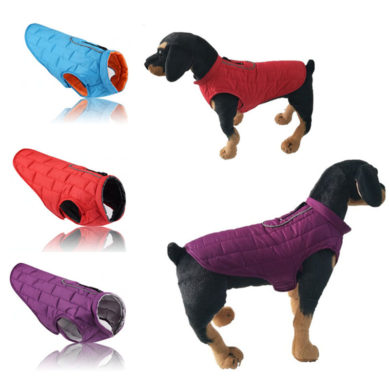 New Two sides wear dog Clothes Winter Waterproof warm dog Coat Reflective pet Jacket cotton Lining dogs vest Clothing apparel