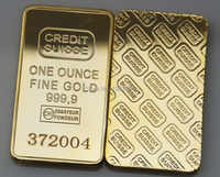 The CREDIT SUISSE 1oz Pure Gold Plated Bullion Bar Replica souvenir coin gift,