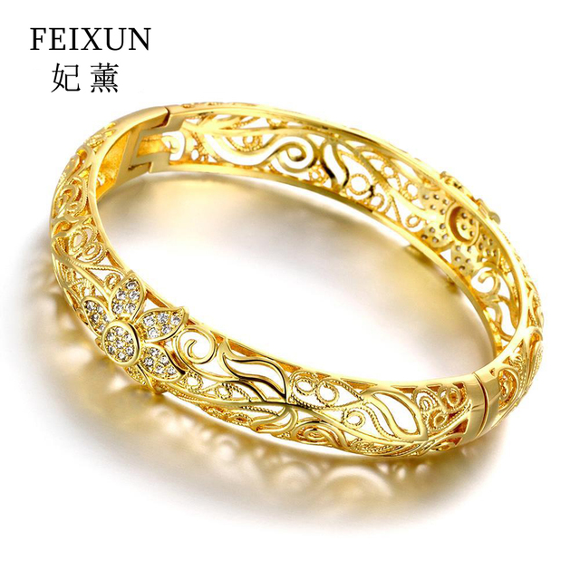 2016 High Quality bangles wedding jewelry Yollow flower paved zircon Nickle Free New Fashion Jewelry good Rose gold Bracelets
