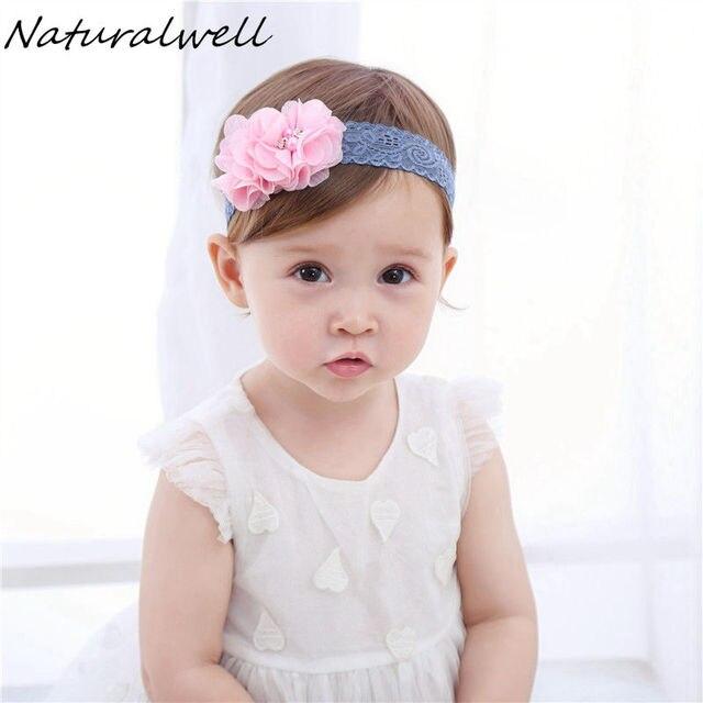 1d99a1f03d94d5 Naturalwell Rosa Blume Stirnband Weiche Elastische Taufe Haarband Taufe  verband Baby Mädchen Neugeborenen Kleinkind Foto Prop