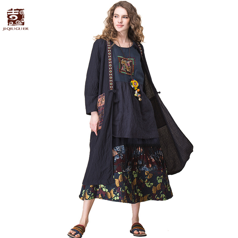 JIQIUGUER Women Blouses Shirts Vintage Plus Size Loose Long Cardigans V-neck Side Split Dark Blue Casual Summer Tops G172Y032