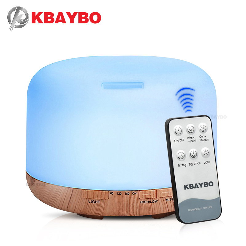 KBAYBO 550ml Remote Control Ultrasonic Humidifier Electric Aromatherapy Essential Oil Aroma Diffuser With 7 Color LED Lights