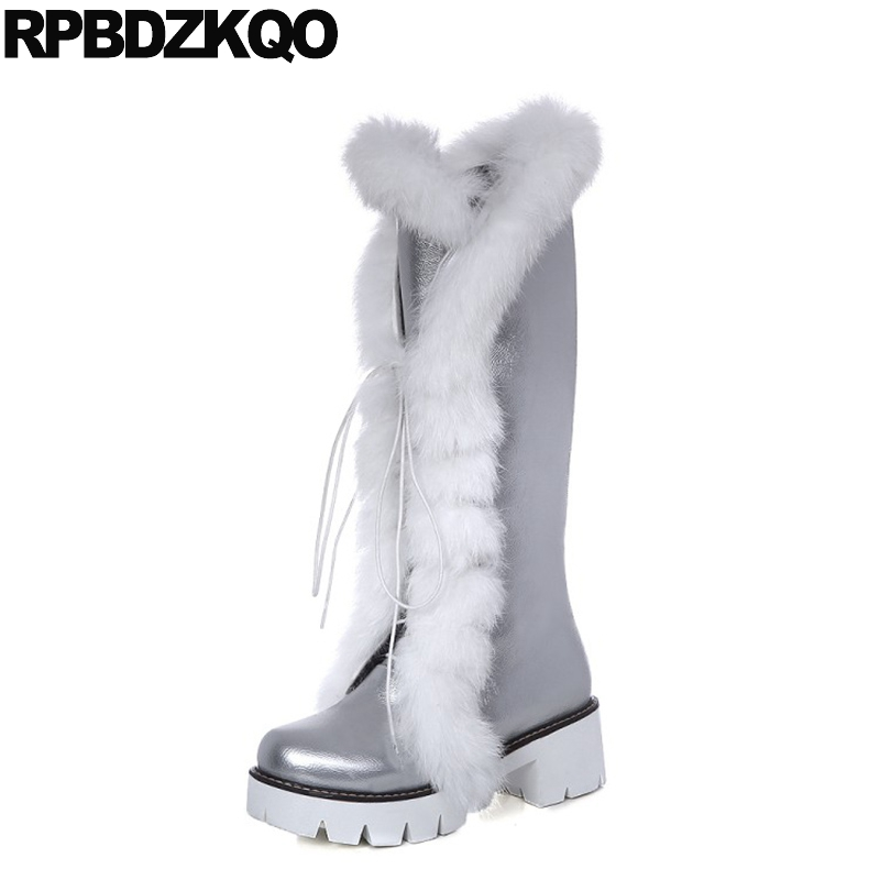 White Kawaii Shoes Long Lace Up 2017 Silver Snow Furry Faux Fur High Heel Chunky Lolita Knee Women Boots Winter Platform Ladies bonjomarisa women riding style motorcycle boots chunky heel platform shoes woman winter add fur knee high snow boots