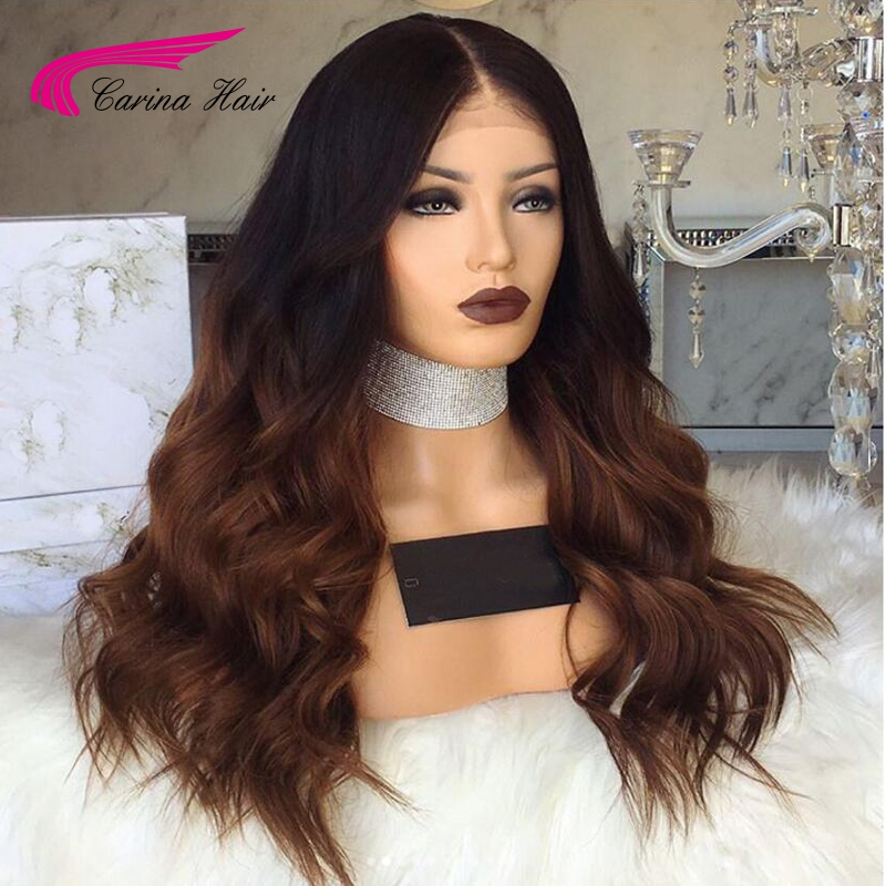 Carina Body Wave Lace Front Wigs With Baby Hair Remy Human Hair Wigs Pre-plucked Hairline Ombre Color Glueless Lace Wigs