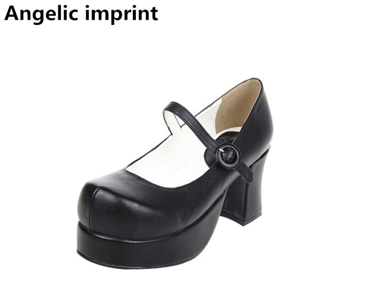 ملائكي بصمة اليدوية امرأة موري فتاة لوليتا تأثيري الأحذية سيدة عالية الكعب مضخات النساء الأميرة اللباس أحذية الحفلات 7.5 سنتيمتر 33  47-في أحذية نسائية من أحذية على  مجموعة 1
