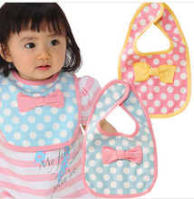 (bows dot small bib) magic buckle baby small bib/saliva towel/bib baby bib