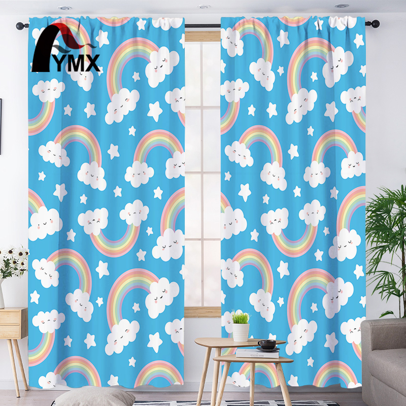FYMX Cute Rainbow Window Curtains Blackout Curtains Kids Bedroom Children Treatment In The Nursery Blue Polyester Cloth Decor
