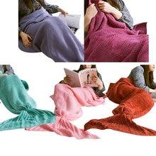 Moda de Punto Manta de Ganchillo Hecho A Mano de Cola de Sirena Adulto Cama Envoltura Suave Saco de dormir Mantas J2Y