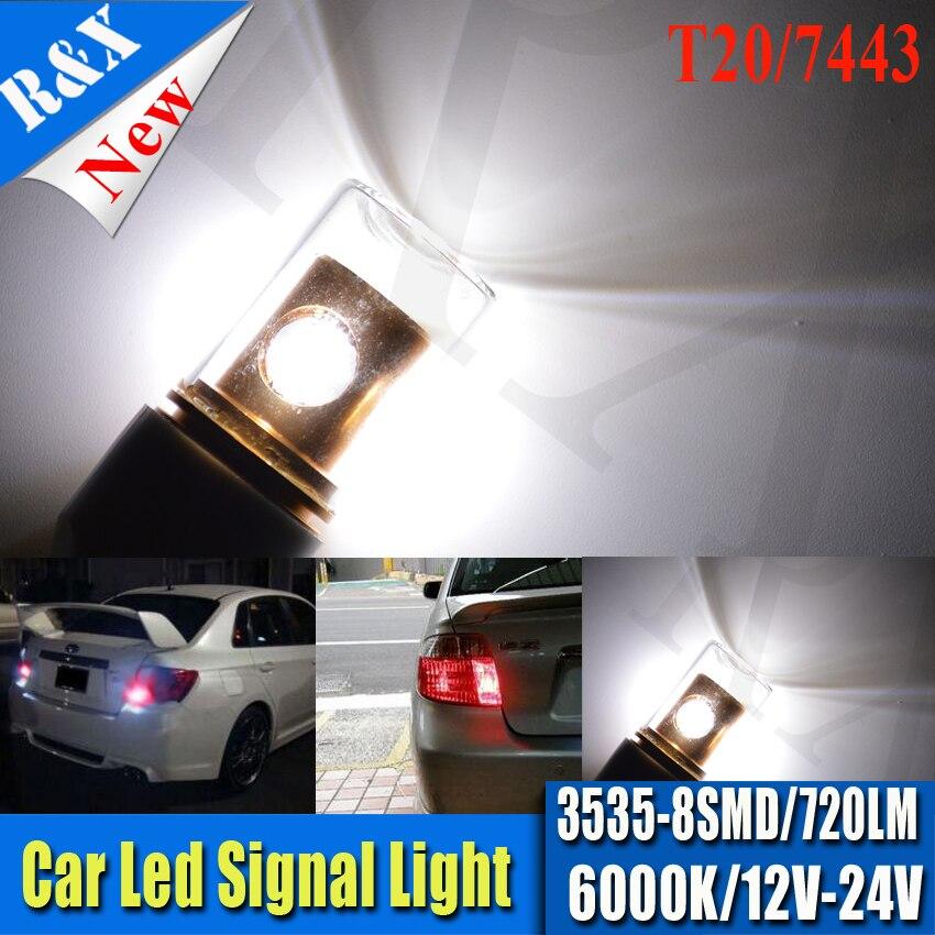 Pair High Quality T20 7443 7440 High Power 3535 8SMD Pure White LED Car Auto Reverse Brake Tail Turn Light Lamp Bulb DC12-24V