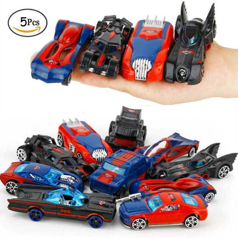 5 Pack/Set Kids Diecast Car Alloy Model Mini 1:64 Classic Toy Superman Vs Batman Cars Juguetes Metal Diecasts Toys Children Boys