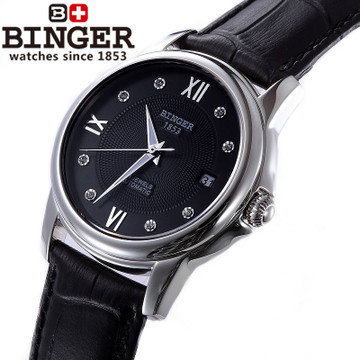 Brand Binger fashion luxury watch black cow leather casual business men watches  Relogio Masculino automatic Wristwatch Jewelry  binger brand luxury famous men watches fashion leisure dress automatic watch business leather watch male clock relogio masculino