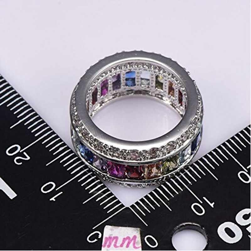 Choucong jóias finas completo mitil cor gem aaaaa zircon cz 925 prata esterlina noivado anel de banda de casamento para mulher sz 5-10