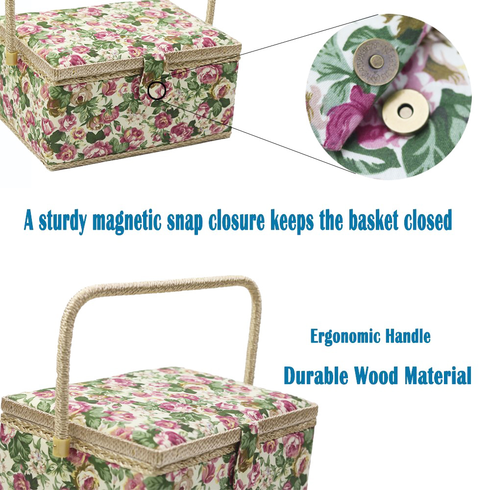Sewing Tools Wood Fabric Covered Crafts Sewing Storage Box Multi-function Sewing Kit Organizer Christmas Best Gift For Mom