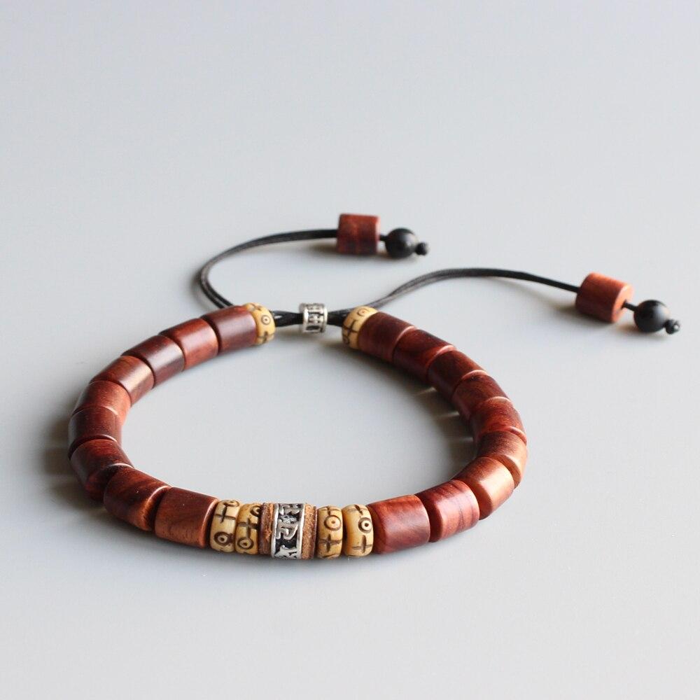 Naturel Ponceuse Bois Avec Tibétain Bouddhiste Amulette Om Mani Padme Hum Charme Bracelet Pour Homme Femmes Chanceux Croix Bracelet À La Main