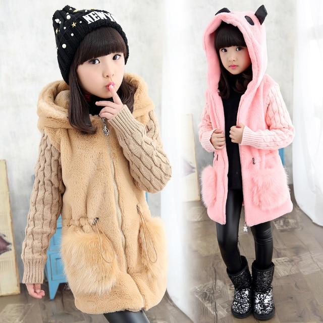 2d49c73f36f7 2019 Winter Girls Fashion Long Fur Coat Kid Thickening Fluffy Warm ...