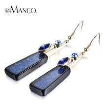 eManco elegante de la vendimia pendientes del gancho de la gota geométricos para las mujeres Cristal Azul imitación piedra Resina colgante joyería y accesorios