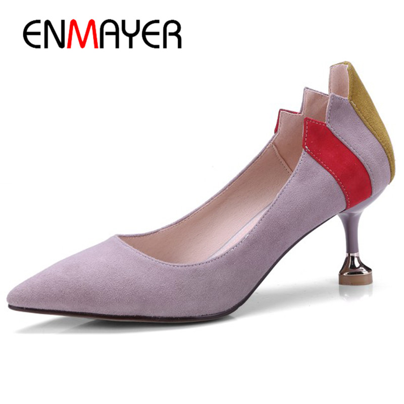 ENMAYER Black Pink Shoes Size 34-39 Pointed Toe High Heels Pumps in Womens Shoes Shallow Suede Slip-on Shoes Party Wedding sequined high heel stilettos wedding bridal pumps shoes womens pointed toe 12cm high heel slip on sequins wedding shoes pumps