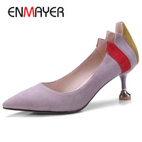 ENMAYER Black Pink Shoes Size 34 39 Pointed Toe High Heels Pumps in Womens Shoes Shallow Suede Slip on Shoes Party Wedding