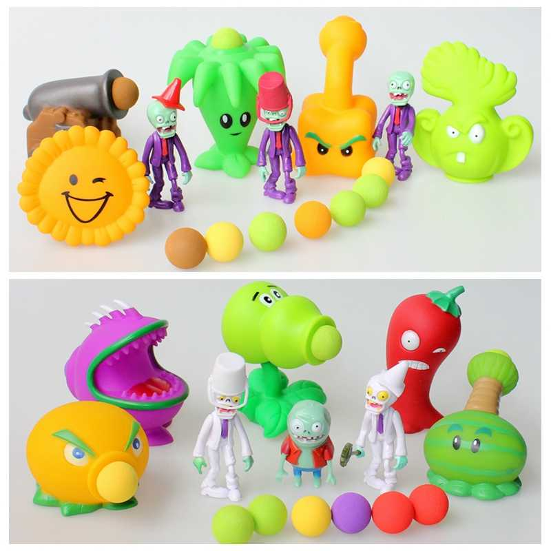 PVC Plants VS Zombies Action Figure Toys PVZ Peashooter Chomper Zombie  Anime Figures Model Funny Toys For Children