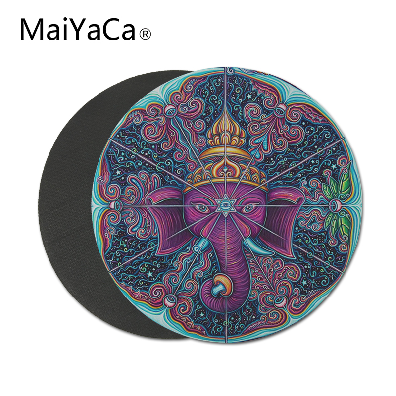 MaiYaCa eye of Elephant prints Round Mouse Pads Anti Slip for Home Office PC Gaming LOL CS GO