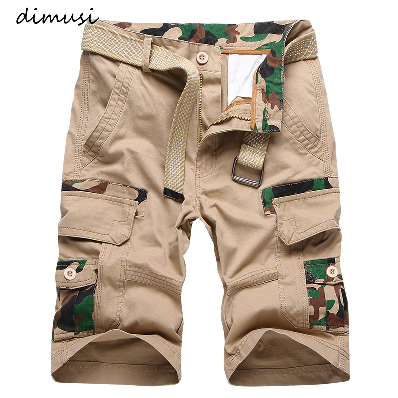 DIMUSI Cargo Shorts Mens New Casual Camouflage Cotton Shorts Male Loose Work Shorts Man Breathable Military Short Pants Size 38