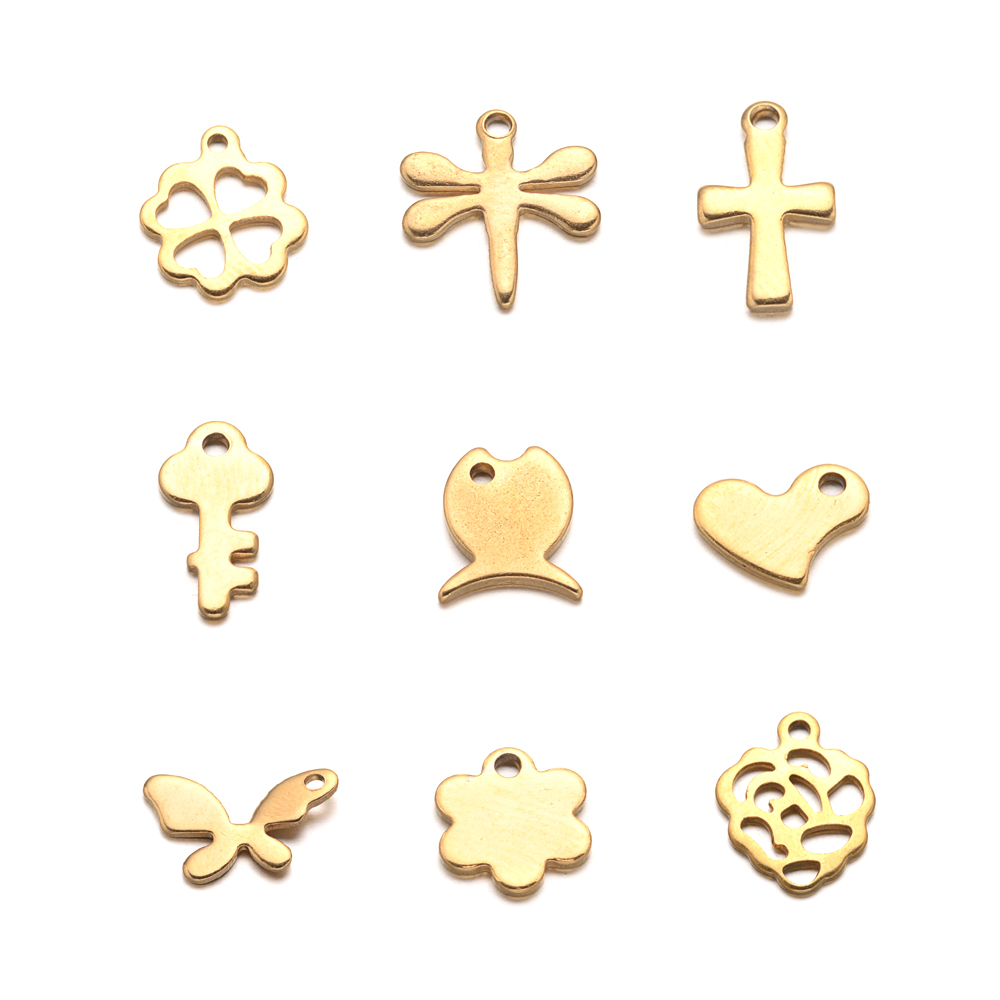 304 Stainless Steel Charm Blank Tag Small Pendant Jewelry Material Golden Plated Butterfly Flower Clover Cross Dragonfly Heart