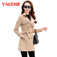 YAGENZ Spring Autumn Clothes Trench Coats For Women Fashion Korean Female Windbreaker Coat Double breasted Tops Casual style 289