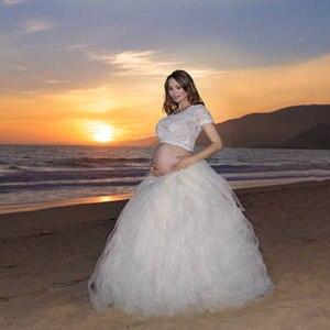 Image 2 - Модная Тюлевая юбка пачка ручной работы, Юбки для беременных, реквизит для фотосъемки, длинная бальная юбка пачка, юбка