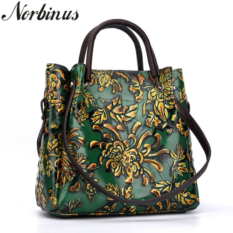 Norbinus Women Embossed Shoulder Messenger Bag Crossbody Handbag Tote National Style Top Handle Bags Female Genuine