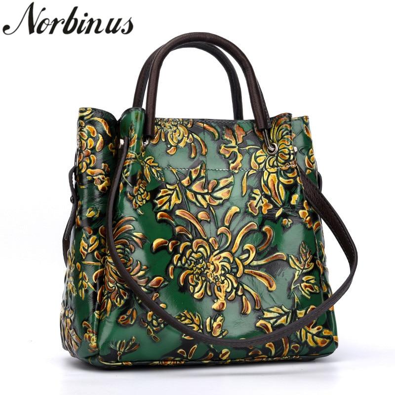 Norbinus kobiety tłoczone torba na ramię torebka na pasek torebka narodowy styl Top torby z uchwytami kobiet torba ze skóry naturalnej w Torby z uchwytem od Bagaże i torby na  Grupa 1