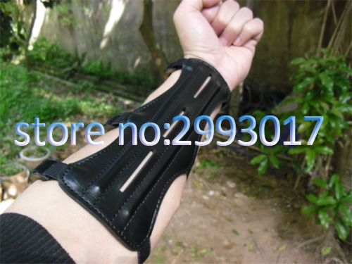 Black 9inch Length With 3 Strap PU Leather Shooting Archery Arm Guard Protection Safe Guard With 2 Rods