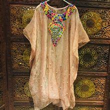 Наряд индианка(сари) Модный рукав «летучая мышь», шелковая вышивка бисером, свободная одежда высокого качества, весенне-осенний костюм