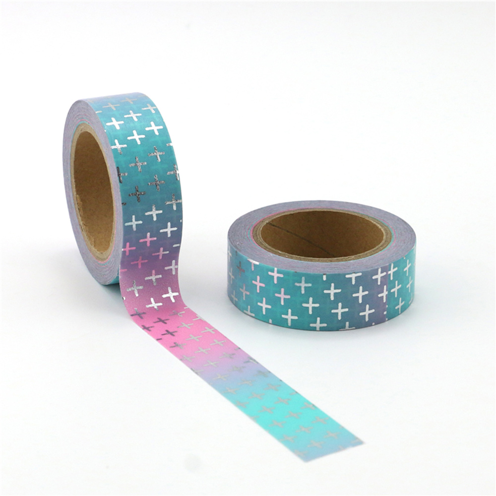 1X 15mm Silver Cross Star Ribbon Set Print Scrapbook And Paper Tape