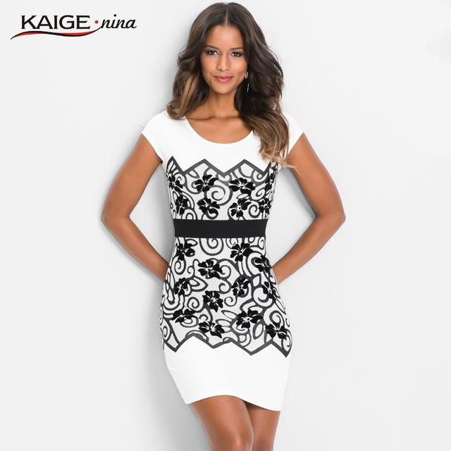 Kaige.Nina Women Dress  Autumn Dresses  O-neck  Print Short sleeves   Women Clothing  Vintage chic  Sheath  Dresses 18027