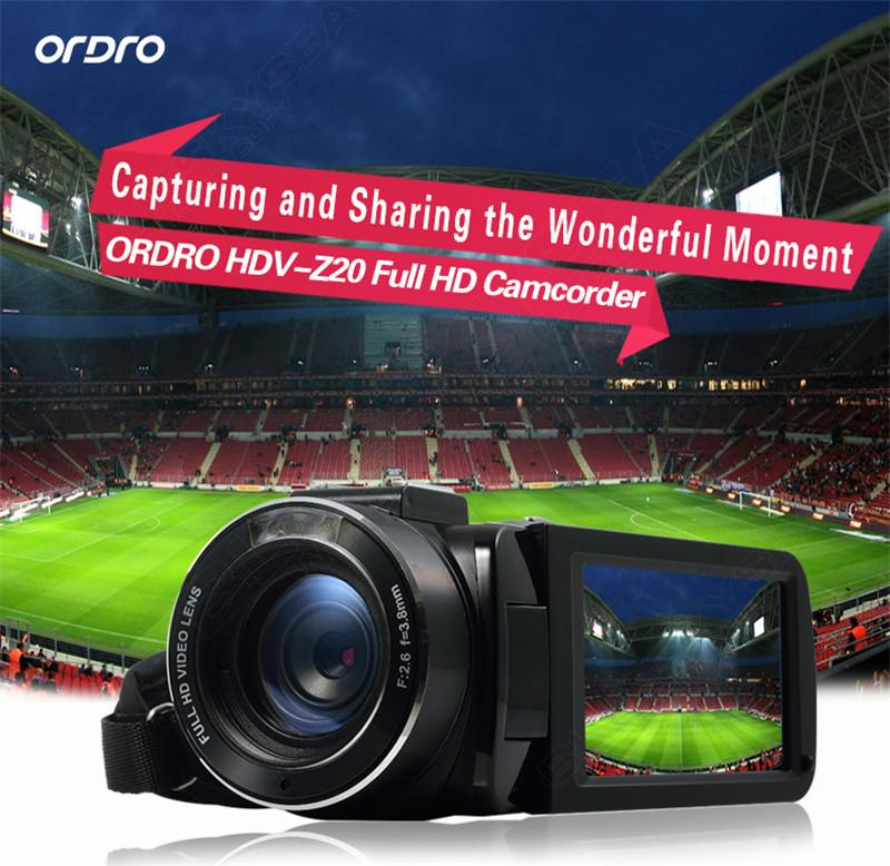 "ORDRO HDV-Z Digital Video Camera Camcorder 3.0"" Touch Screen 1080P Full HD 16X Zoom 24MP Face Detection LED Fill-in Light DV 3"