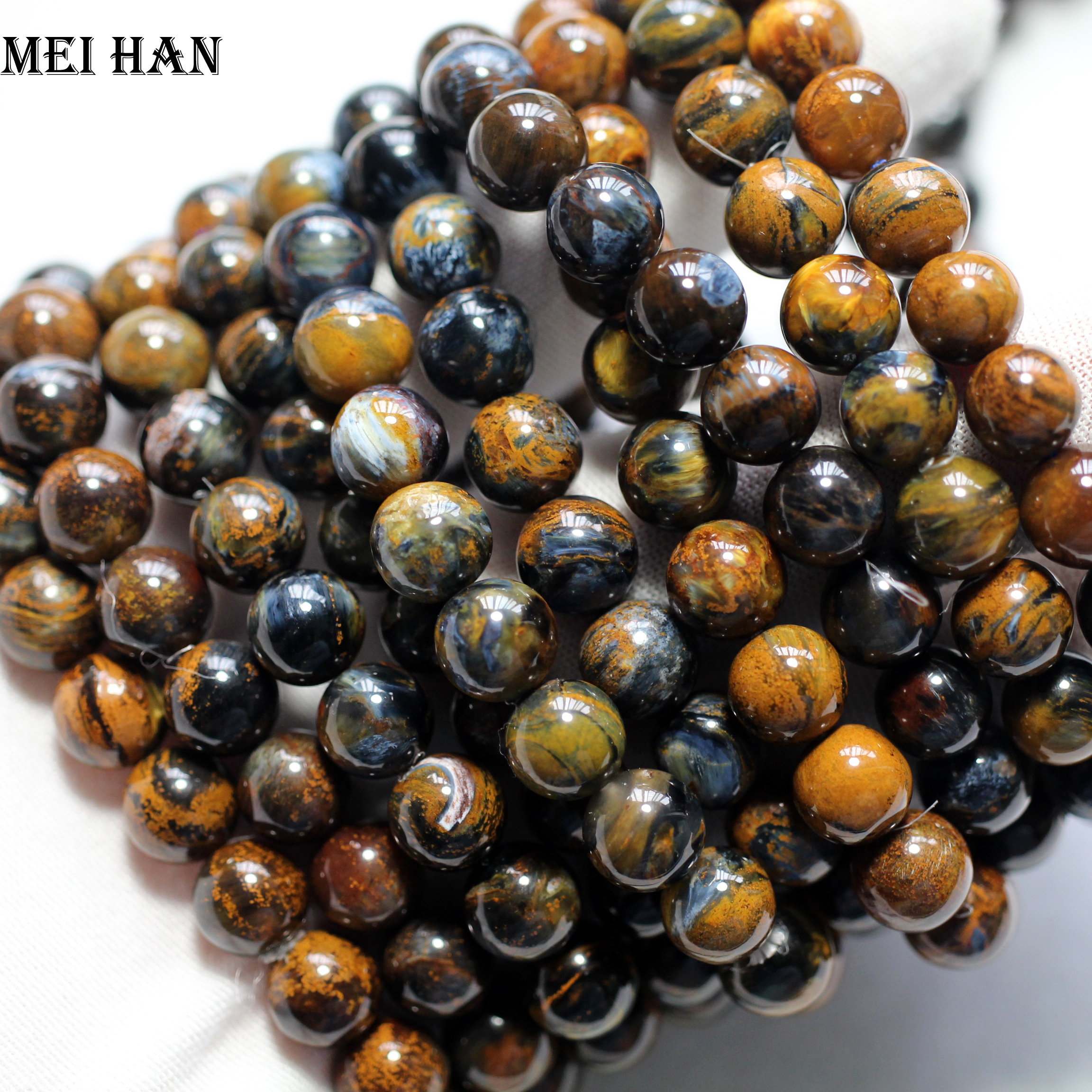Miehan Free shipping (21beads/set/19g) A++ natural 8.5-9mm Namibia Pietersite smooth round beads for jewelry making design