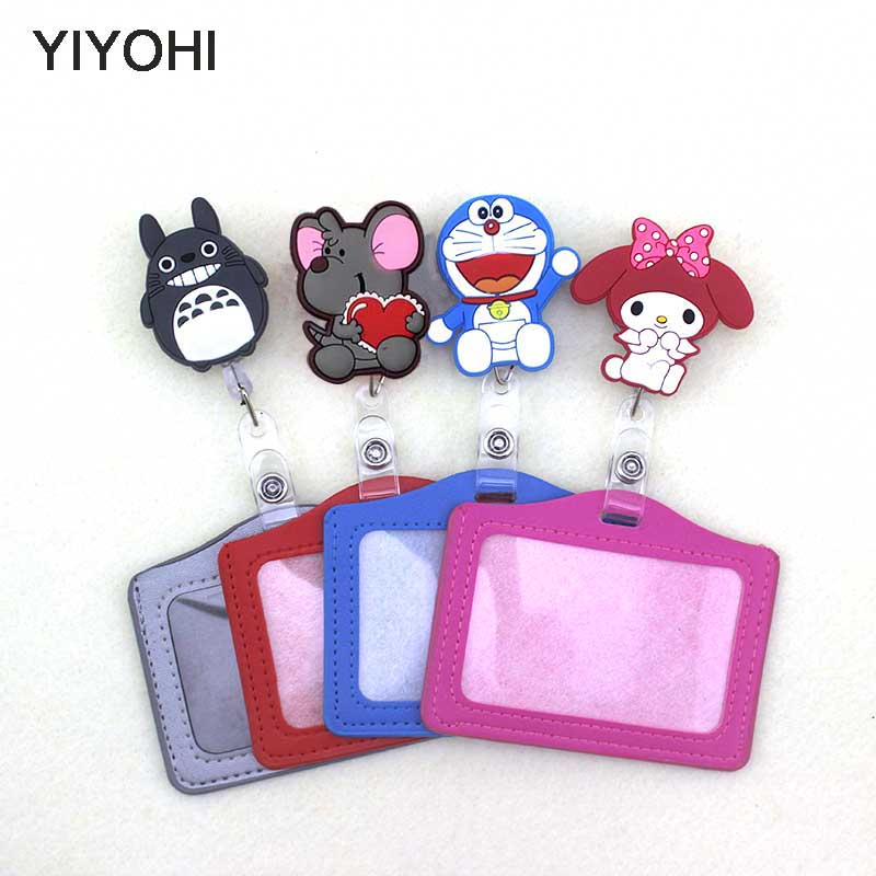 YIYOHI Silicone Card Case Holder Bank Credit Card Holders Card Bus ID Holders Identity Badge With Cartoon Retractable Reel SKU02