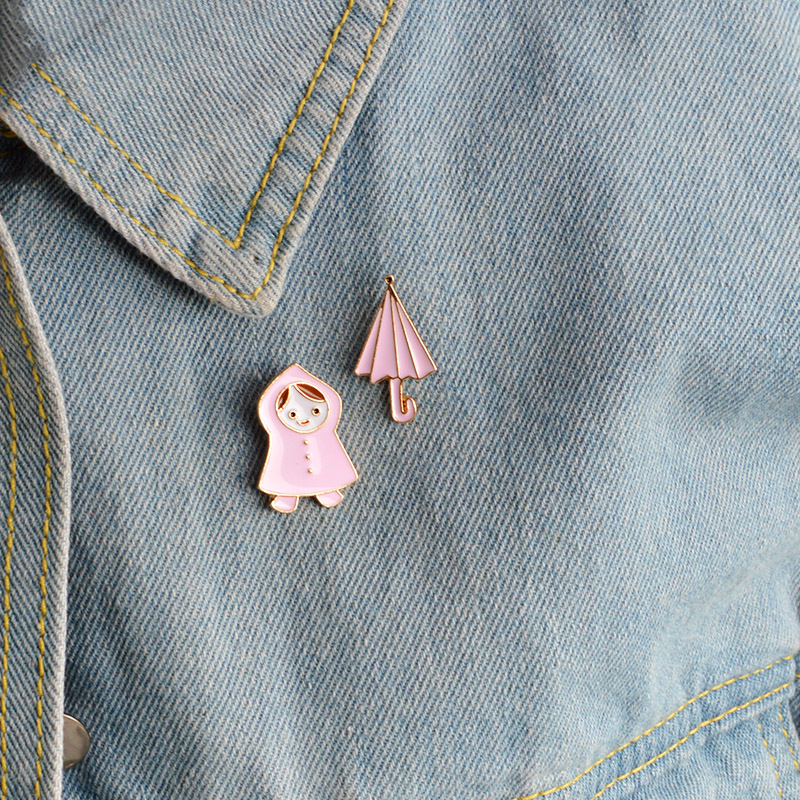 1 Pcs Cartoon Girl Umbrella Metal Badge Brooch Button Pins Denim Jacket Pin Jewelry Decoration Badge For Clothes Lapel Pins To Enjoy High Reputation In The International Market Apparel Sewing & Fabric