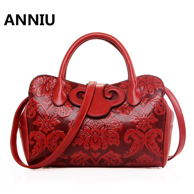 ANNIU Brand New Chinese Red National style leather handbags Women 3D Printing female shoulder bag bolsos mujer de marca famosa red lip 3d printing women cosmetic bags neceser makeup bag bolsos mujer de marca famosa 2018 necessaire toiletry bag organizer